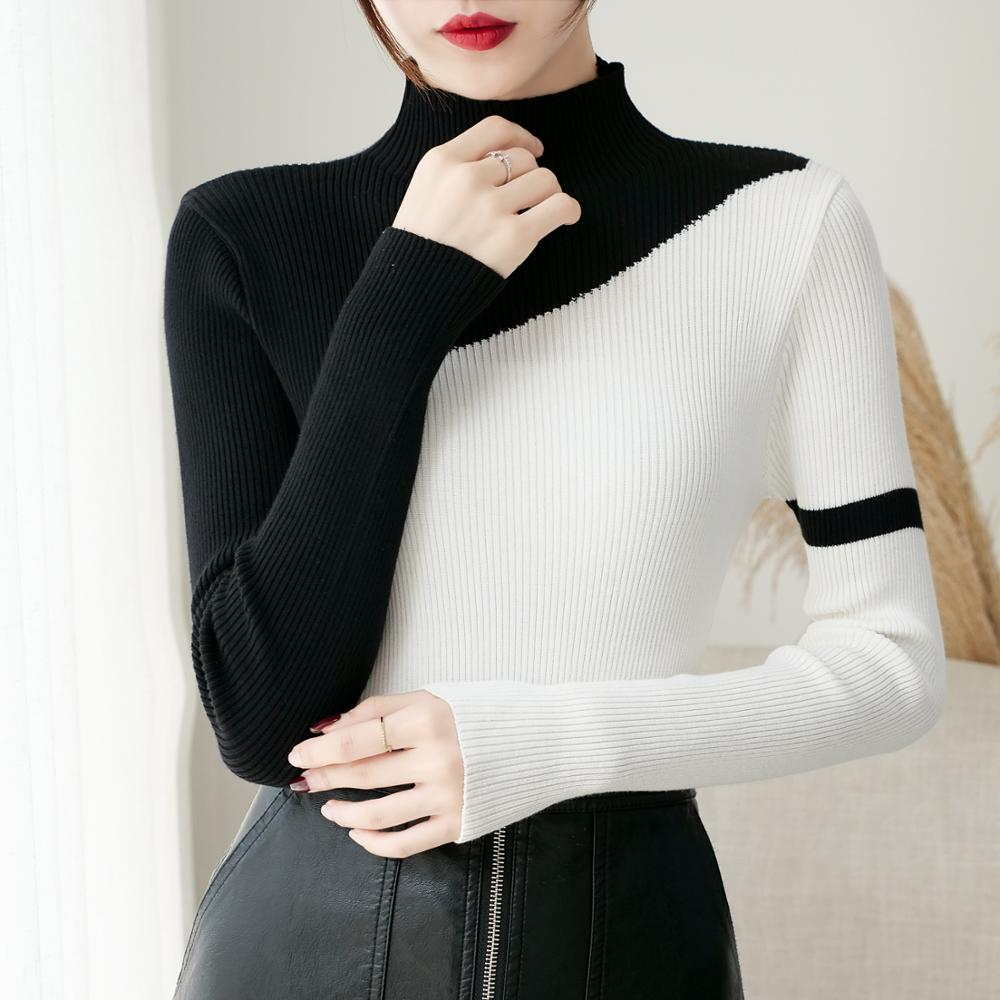 2019 Women Knitted Turtleneck Splice Sweater Soft Jumper Fashion Slim Femme Elasticity Pullovers Long Sleeve Casual Sweaters