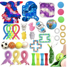 Anti-Stress Rainbow Stress Reliever Toy Set For Adults And Children Gift Package Pop It Sensory Bubble Fidget Toy cheap CN(Origin) 4-6y 7-12y 12+y Animals Nature Fantasy Sci-Fi Sports