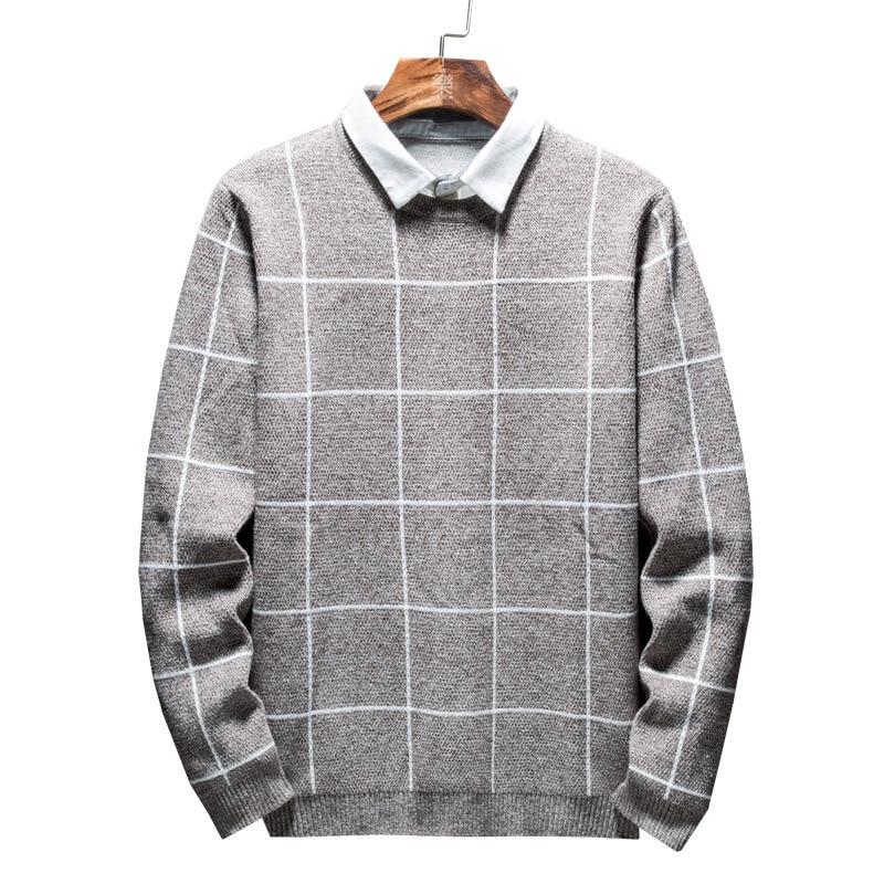 Autumn And Winter Fake Two Sweater Men's Korean Shirt Collar Sweater Sweater Collar Long Sleeve Plaid Slimming Shirt Trend