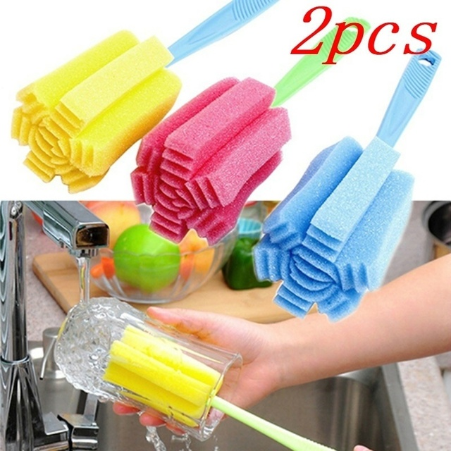 2pcs Kitchen Cleaning Tool Sponge Brush for Wineglass Bottle Coffe Tea Glass Cup color random