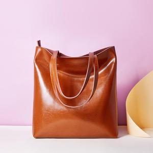 Image 3 - Zency 100% Genuine Leather Vintage Women Shoulder Bag High Quality Fashion Brown Large Capacity Shopping Bags Black Tote Handbag