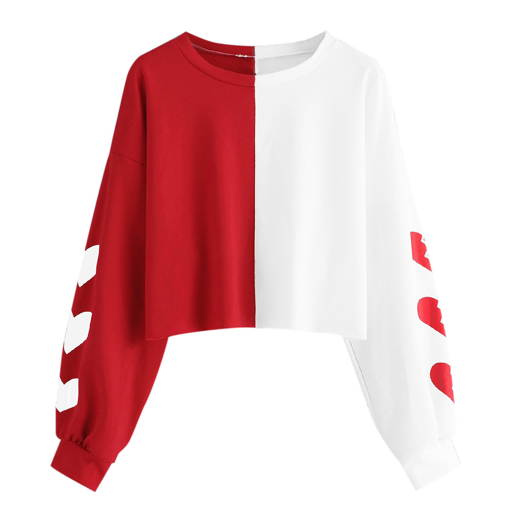 JAYCOSIN Fashion Women Heart Print Patchwork Long Sleeve Sweatshirt Elegant Chic Round Neck Casual Crop Jumper Pullover Tops