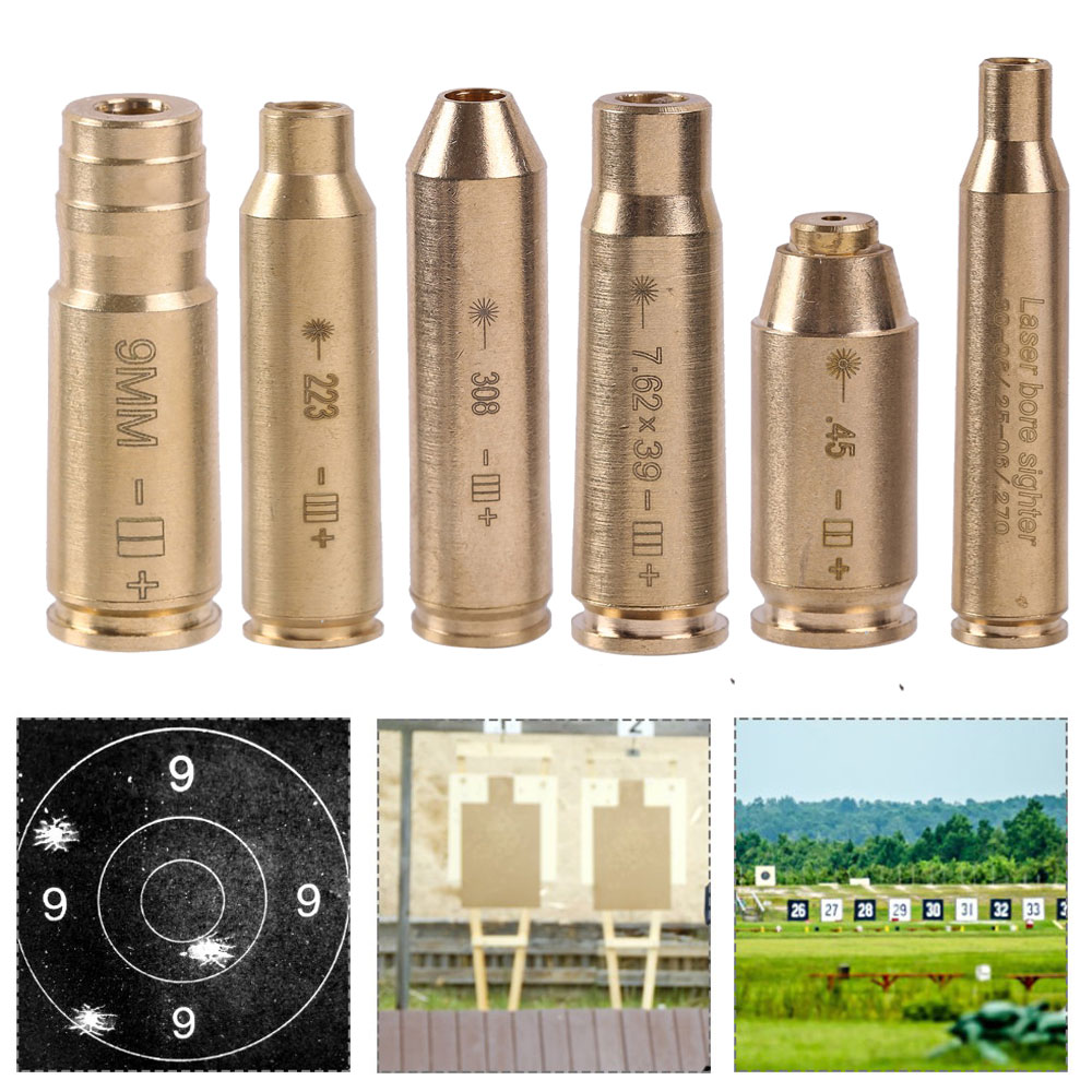 Tactical Red Dot Laser Boresighter CAL 9MM.308 .223 .40 .45 30-06 Brass Cartridge Bore Sighter for For Scope Gun Accessories