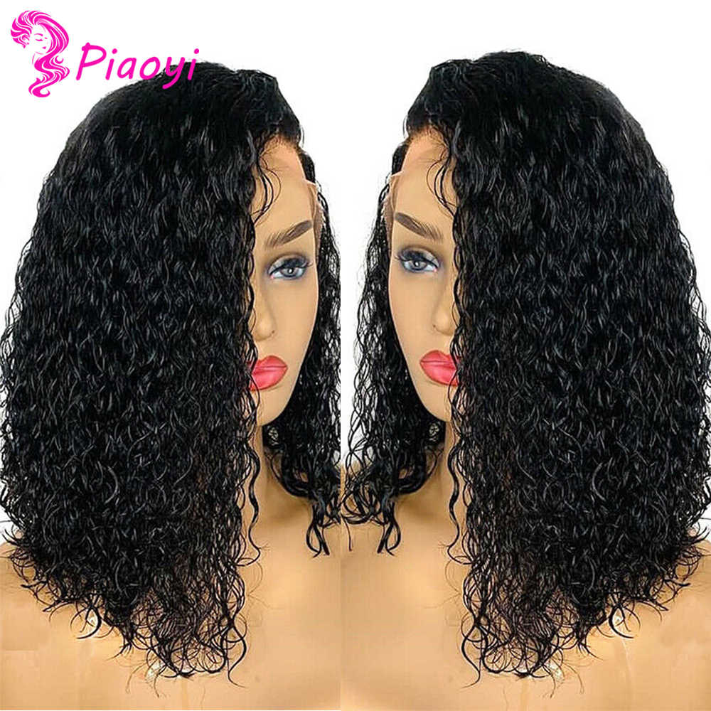 Piaoyi Curly Bob Wig 13X4 Lace Frontal Bob Wig Remy 180% Brazilian Curly Lace Front Wig Pre Plucked Curly Human Hair Wig