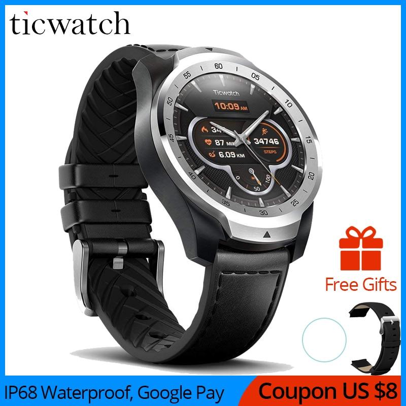 Ticwatch original pro esporte relógio inteligente bluetooth wifi nfc pagamentos/google assistente android wear smartwatch gps ip68 à prova dip68 água