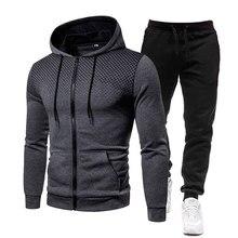 Conjuntos casuais dos homens 2021 primavera outono nova marca jogger agasalho com zíper hoodies calças 2 pcs conjuntos de roupas esportivas dos homens
