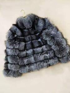 Image 5 - linhaoshengyue fashion  womens silver fox fur coat female regular section horizontal stripe fox fur coat female stand collar