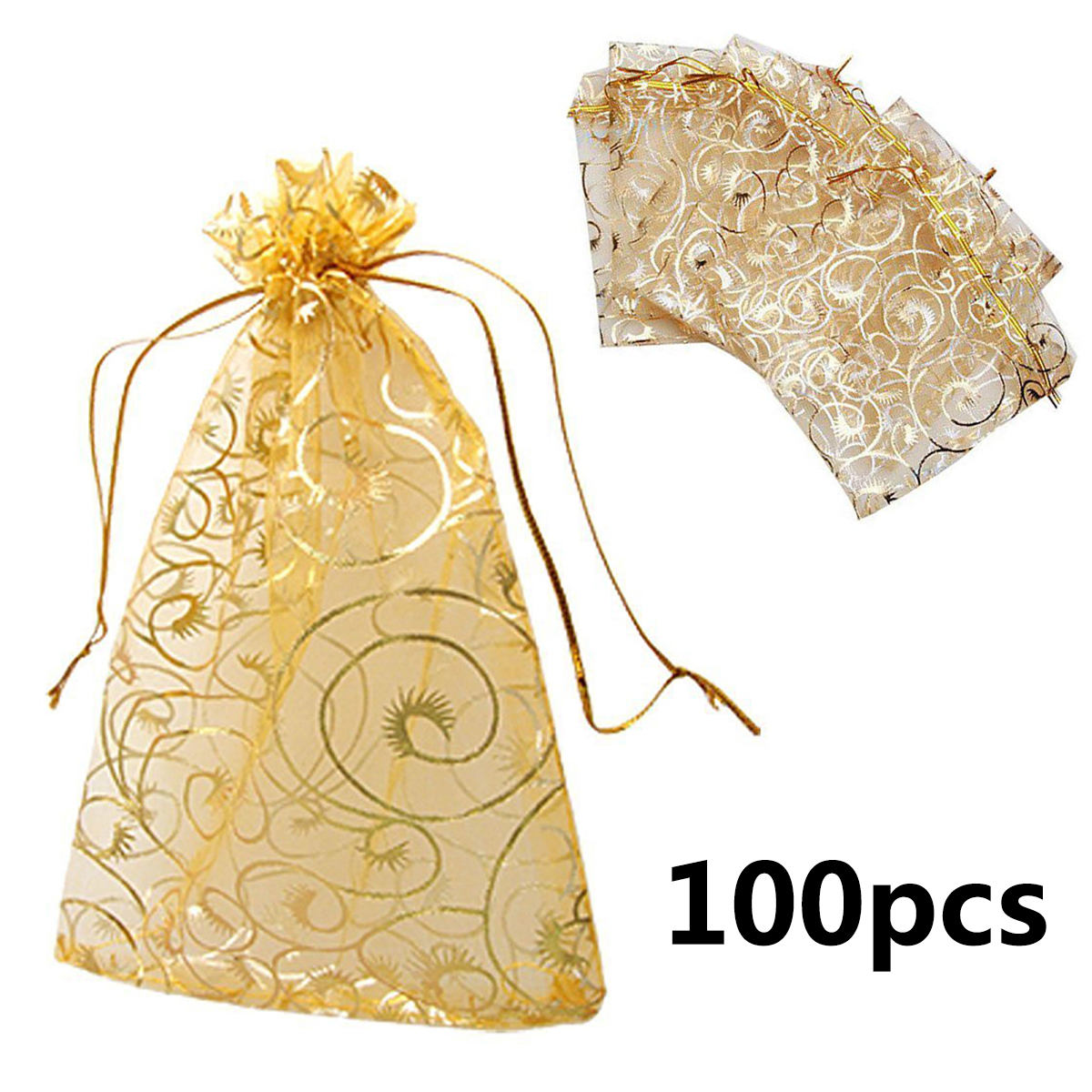 100pcs/lot Organza Bags Gold Coralline Custom Jewelry Tea Packaging Bags Organza Wedding Gift Bags Saquinho De Organza 9*12