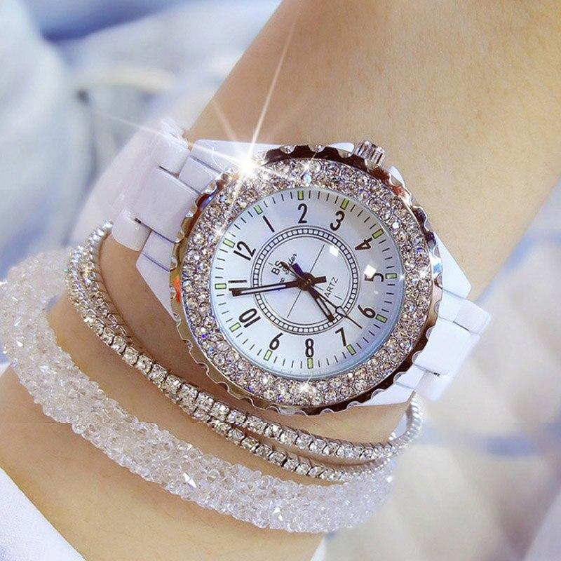 Women Watches 2018 Top Brand Luxury Ceramic Women's Watch Fashion Quartz Ladies Wrist Watch Diamond White Female Wristwatch 2019