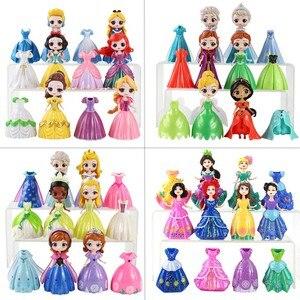 Magiczny klips księżniczka figurki Magiclip sukienka Q Posket Elsa Anna Sofia śnieg biała syrenka Model z pcv zabawki dla dzieci