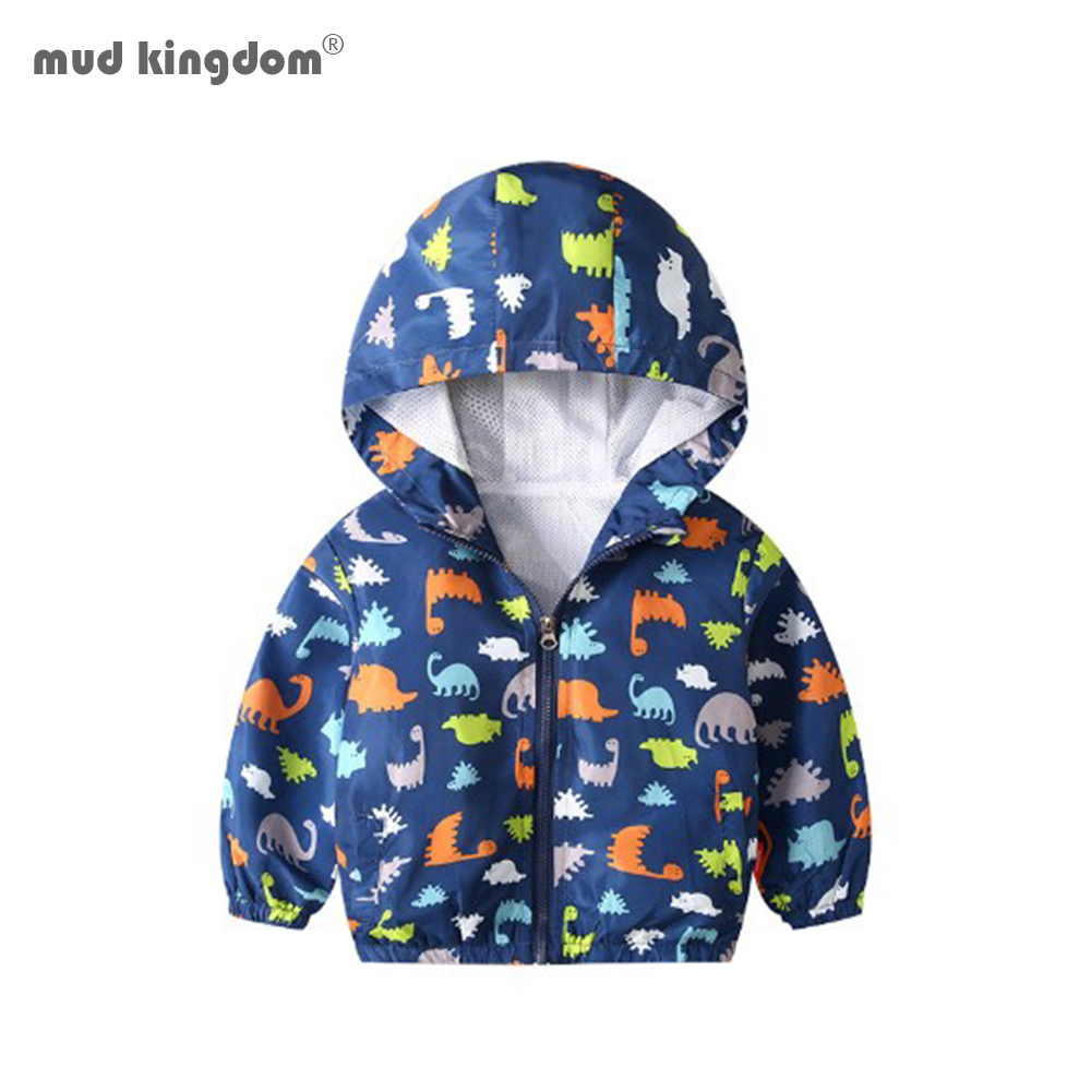 Mudkingdom Boys Jackets Lightweight Long Sleeve Spring Autumn Colorful Fashion Print Children Outerwear Cartoon Dinosaur Coats