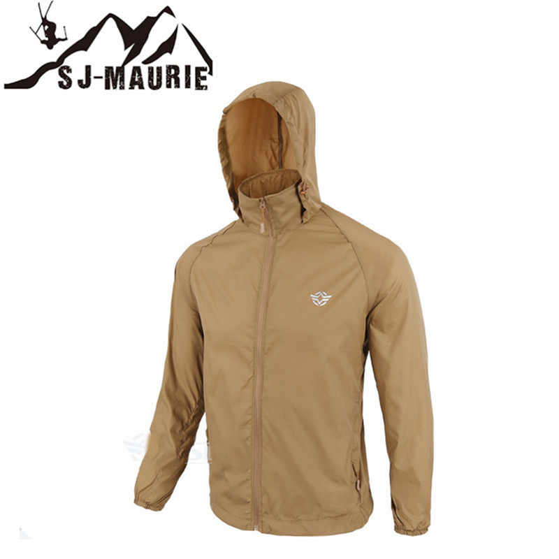 防水ウインドブレーカーメンズハンティングジャケット屋外の戦術的なハイキング狩猟ジャック-乾燥肌布迷彩抗 Uv コート
