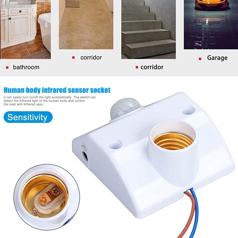 E27 Lamp Holder Infrared Motion PIR Sensor Automatic LED Light Lamp Holder Switch LKS99