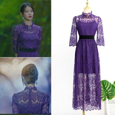Purple With Brooch Lace Elbow Sleeve Dress  With Belt For Women DEL LUNA Hotel Same IU Lee Ji Eun Summer Temperament Sweet Dress