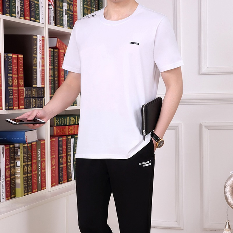 Middle Aged And Elderly People Short Sleeve Trousers Set Men's Sports Casual Summer Thin Section A Set Of Large Size Two-Piece S