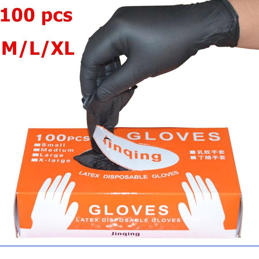 Ev ve Bahçe'ten Ev Eldivenleri'de 100/50 adet tek kullanımlık lateks eldiven evrensel temizleme iş parmak eldiven lateks koruyucu ev gıda güvenliği siyah title=