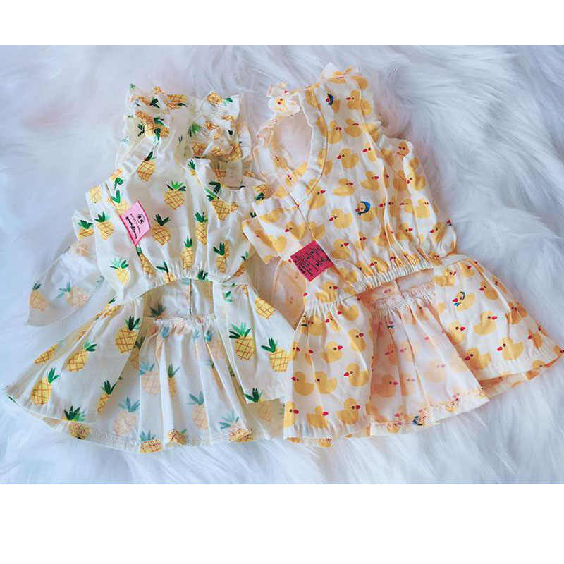 FunDiscount Pet Dresses White,Large Dog Princess Cable Knit Tops Suede Ruffle Skirt Outfit Dress with Flower Printing Cute Cat Dress for Puppy Small Dogs Apparels Pet Clothes Floral Dress