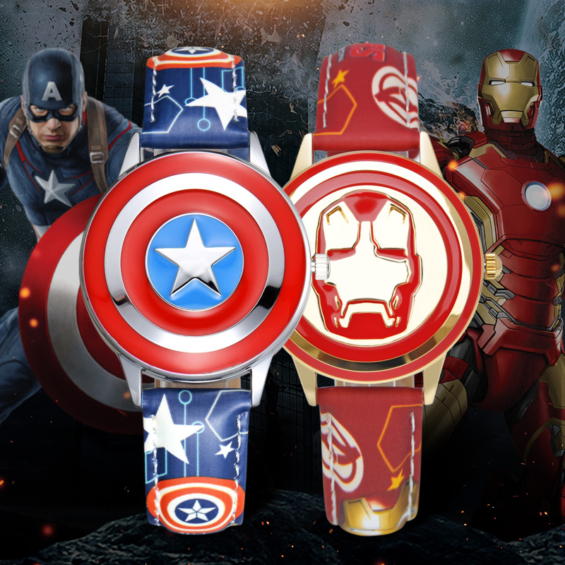 Super Hero Marvel Avengers Captain America Children's Quartz Waterproof Flip Watch Child Leather Watches Iron Men Spider Cool