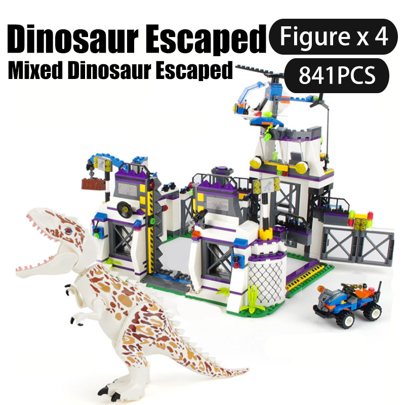 Jurassic World Dinosaurs Series Building Blocks Tyrannosaurus escaped from the base/Catch tyrannosaurus rex Brick Children Toys image