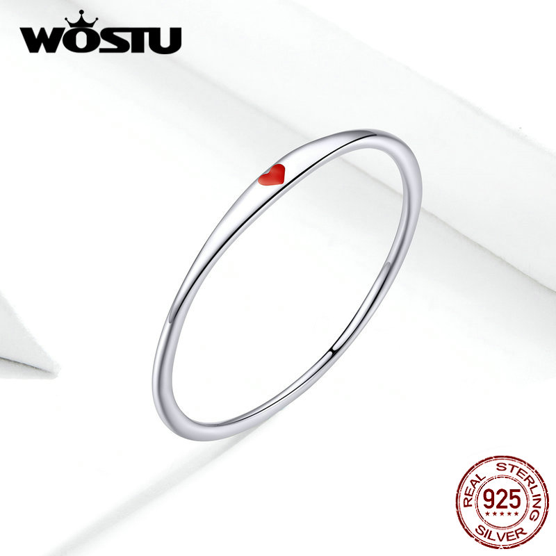 WOSTU 100% 925 Sterling Silver Red Heart Stackable Wedding Rings For Women Fashion Silver 925 Jewelry Ring FIR620