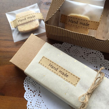 MissYe Store 80pcs handmade sticker sealing labels kraft paper custom for  DIY Hand Made Gift Candy Paper Tags