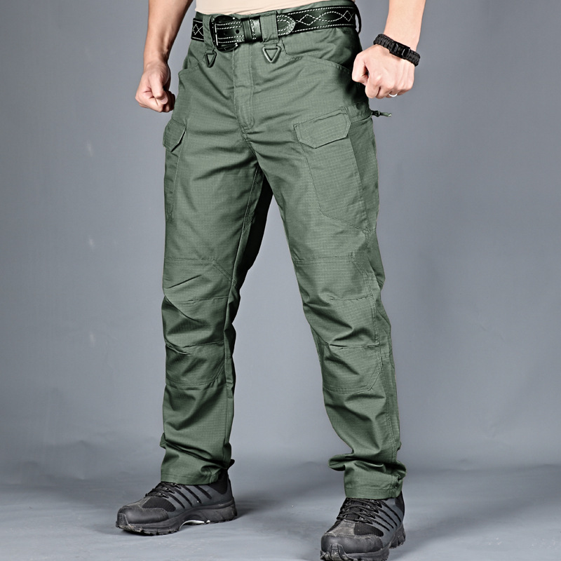 IX7 Tactical Trousers Outdoor Training Trousers Cotton Elastic Fabric Military Tactical Cargo Pants Men  Army Trousers