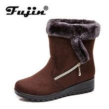 Fujin Winter Plus Velvet Cotton Warm Female Snow Boots Side Zipper Tarpaulin Casual Women Large Size Low Heel Shoes