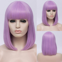 VICWIG Synthetic 14 inch Black Straight Short Bob Wigs With Bangs Blue Golden Red Green White Purple Brown Cosplay Wig Female