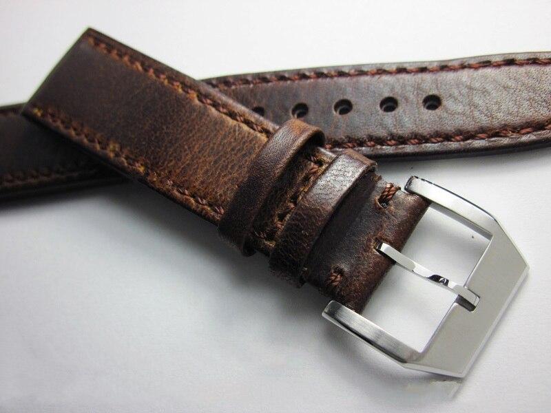 Correa de reloj hecha a mano de 21mm 20mm 22mm de alta calidad Crazy Horse correa de reloj Retro Vintage de repuesto de lujo para hombres Correa de cuero para mi band 4 3, correa de pulsera de Metal para xiaomi band 4, pulsera deportiva transpirable para mi band 4, pulsera xiaomi