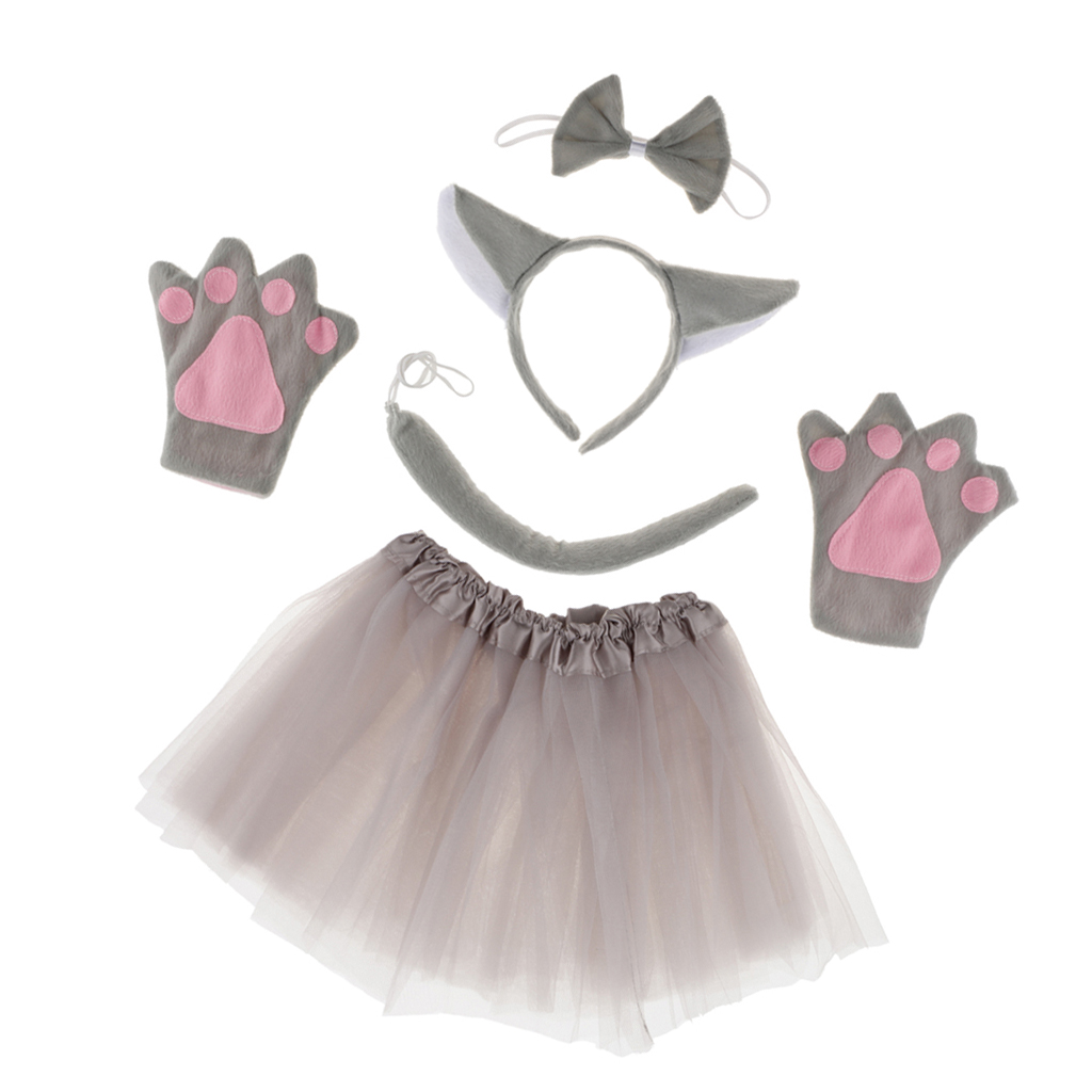 Grey Wolf Plush Ears And Tail Set Adult And Child Fancy Dress Animal Accessory