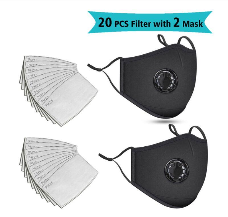 20PCS Filter Fashion Mask Masks Face Masks Anti-dust Bacterial Respirator Washable Reusable Protective Mask Unisex Mouth Muffle