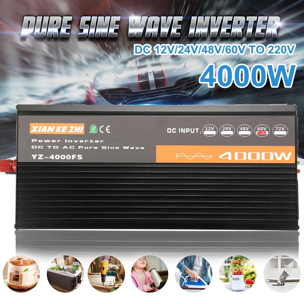 4000W Spannung transformator reine sinus solar power inverter DC 12V 24V 48V 60V zu AC 220V LCD/Led-anzeige