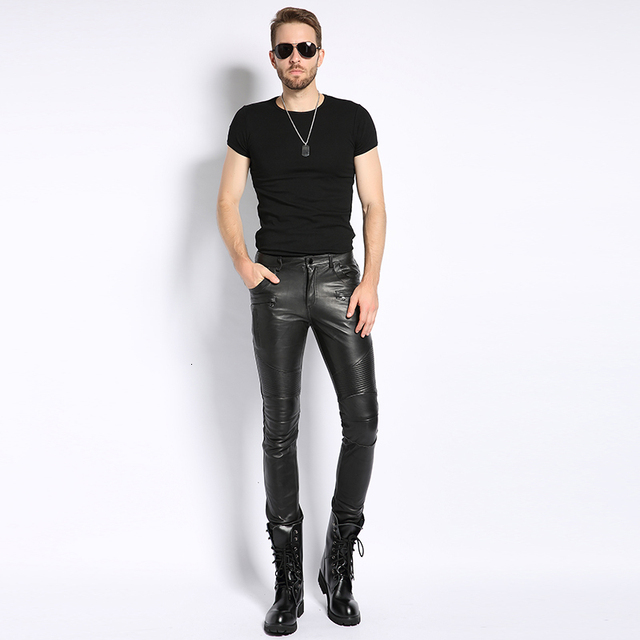 Genuine Leather Male Pants 2020 Autumn Korean Fashion Biker Casual Soft Slim Full Length Pant Straight High Street Trouser Man 5
