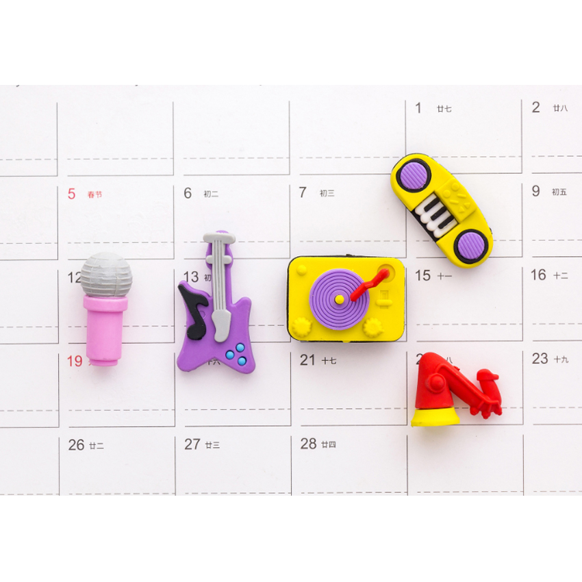 5pcs/set Creative Party Music Instruments Series Rubber Set Roller Kawaii Students Stationery
