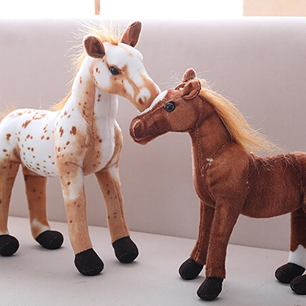 3D Simulation Soft Horse Animal Plush Stuffed Doll Kids Toy Room Decor Photo Props For Birthday GiftSoft Washable Plush Toy