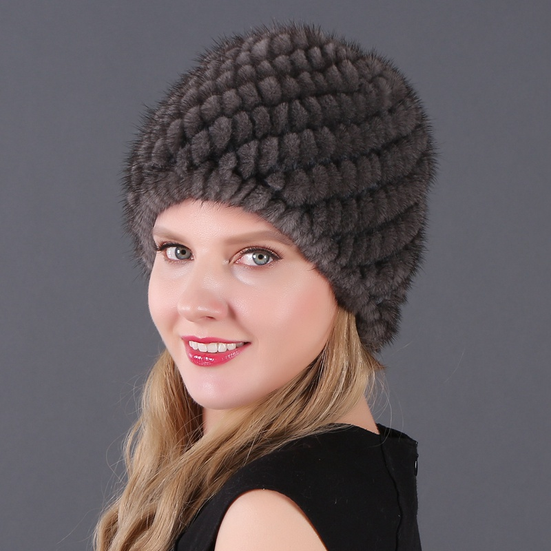 New Lovely Real Mink Fur Hat For Women Hot Sale Winter Knitted Beanies Cap Wholesale And Retail Caps