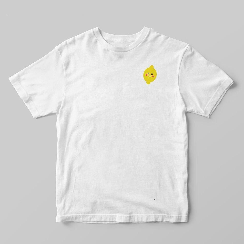 Feliz limão fruta simples tshirt feminino estilo coreano gótico kawaii tumblr plus size algodão manga curta camisa femme roupas