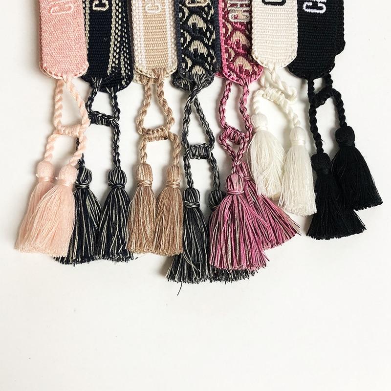 Woven Fabric Bracelet Jewelry Hand Signed Colorful Embroidery Bracelet Women Men Tassel Adjustable Bracelet Couple Gift