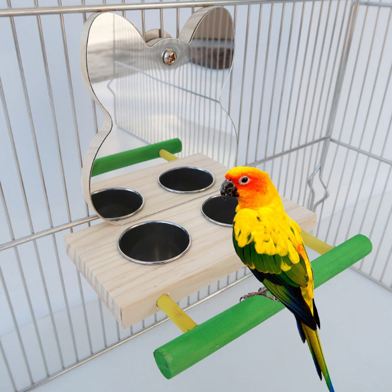 Parrot Mirror Toy with Stainless Steel Feeding Cups Bird Wooden Perch Stand for Macaw African Greys Budgies Parakeet Cockatiels