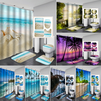 New Colorful Beach Fabric Shower Curtain Bathroom Curtain Sea Conch Starfish Shell Boat Rug Sets Toilet Cover Mat Set