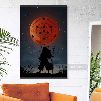 Anime Infinite Tsukuyomi Madara Canvas wooden Frame Decoration prints For kids Living Room Magnetic Framed Home decor painting image