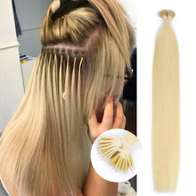 Human-Hair-Extensions Nano-Beads Micro-Ring Isheeny 14-22-Pre-Bonding Straight-Blonde