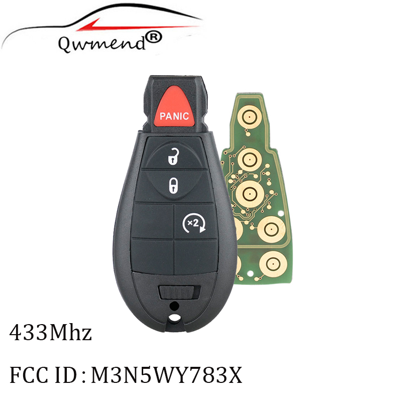 10pcs 4Buttons Replacement Keyless Entry Remote Key for Chrysler 2008 2015 433Mhz PCF7941 chip Y160 Blade