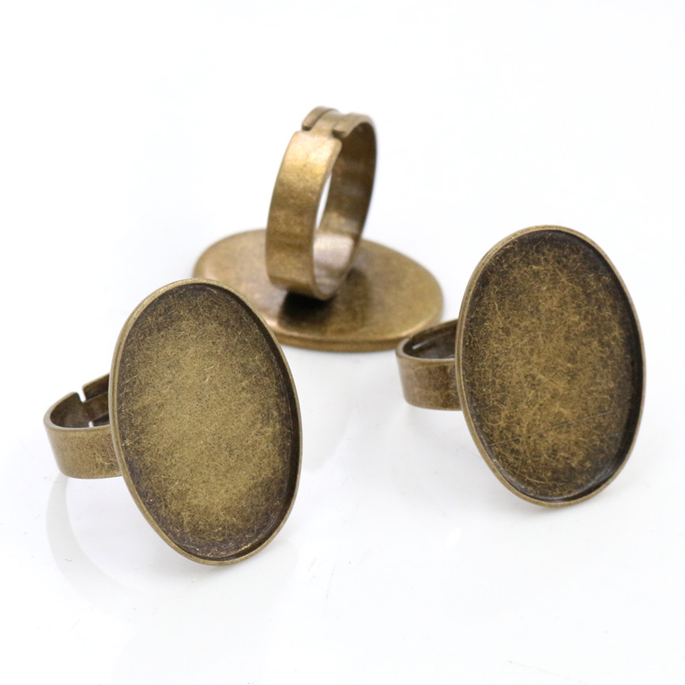 18x25mm 5pcs Antique Bronze Plated Brass Oval Adjustable Ring Settings Blank/Base,Fit 18x25mm Glass Cabochons  J3-11