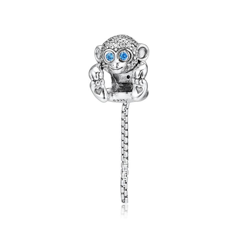 Original 925 Sterling Silver Bead Sparkling Monkey Charm Beads Fit Pandora Bracelet Bangle for Women DIY Jewelry Kralen in Beads from Jewelry Accessories