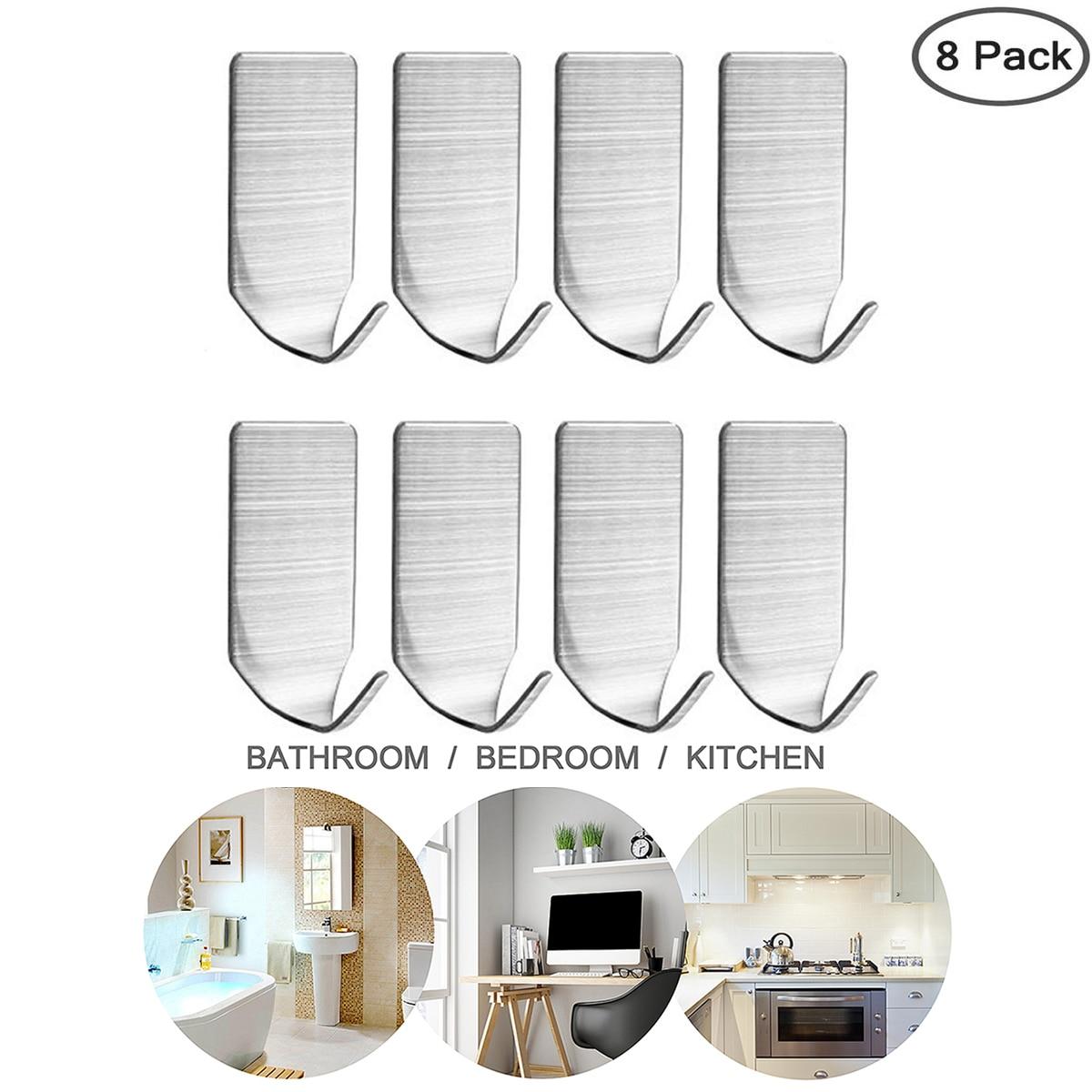 8 16 Pcs Self Adhesive Hooks Stainless Steel 3M Adhesive Wall Rust Proof Hanger For Robe Coat Towel Keys Bags Kitchen Bathroom