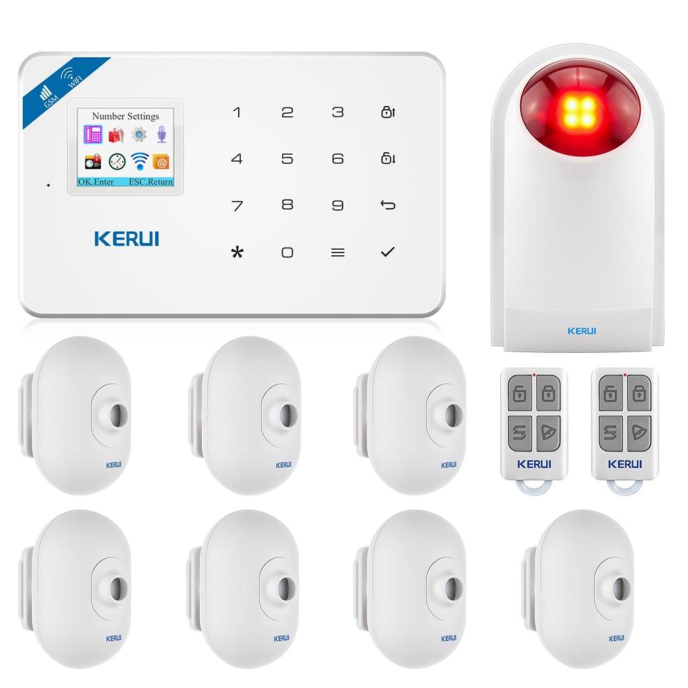 KERUI Motion Detector Door Detector Alarm Siren Alarm System TFT Color Screen W18 WIFI GSM Home Burglar Alarm System APP Control