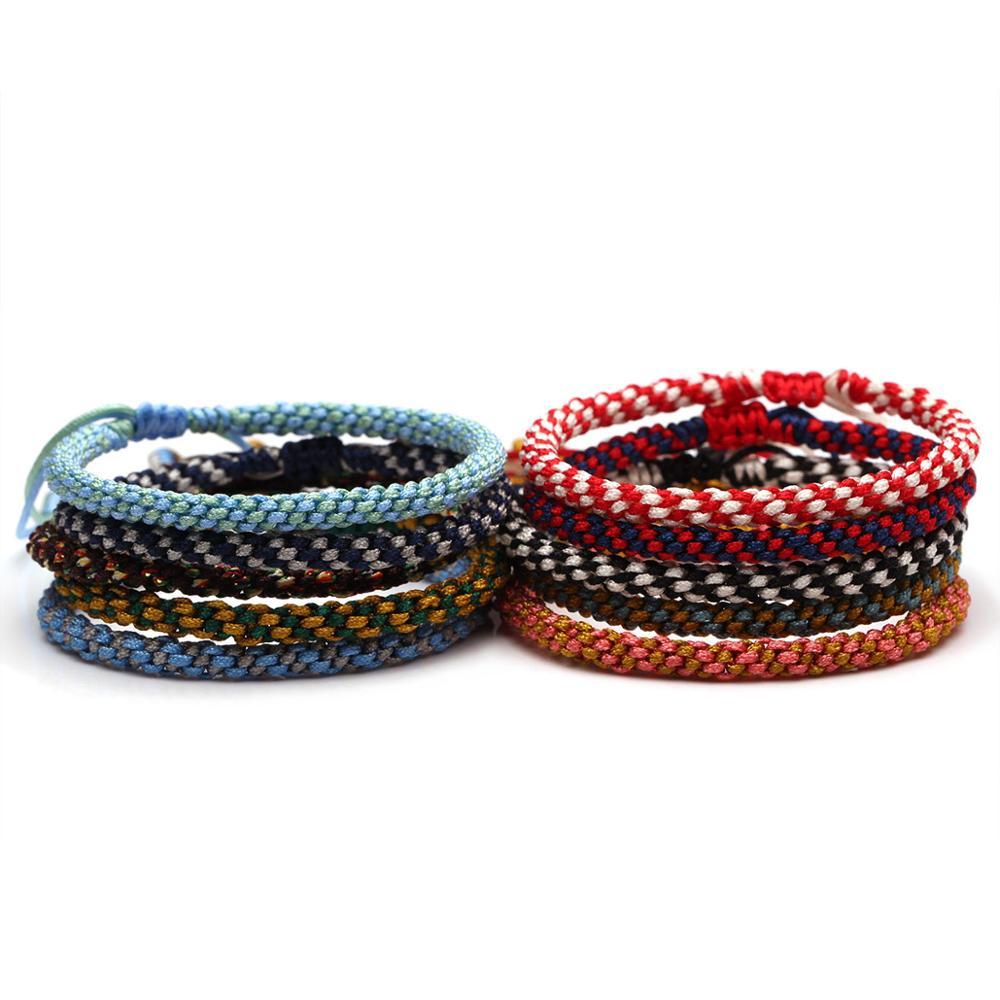 Bohemian Two Tone Corn Knot String Handmade Bracelet Women Girl New Fashion Tibetan buddhist Luck Woven knot Rope Jewelry Gift