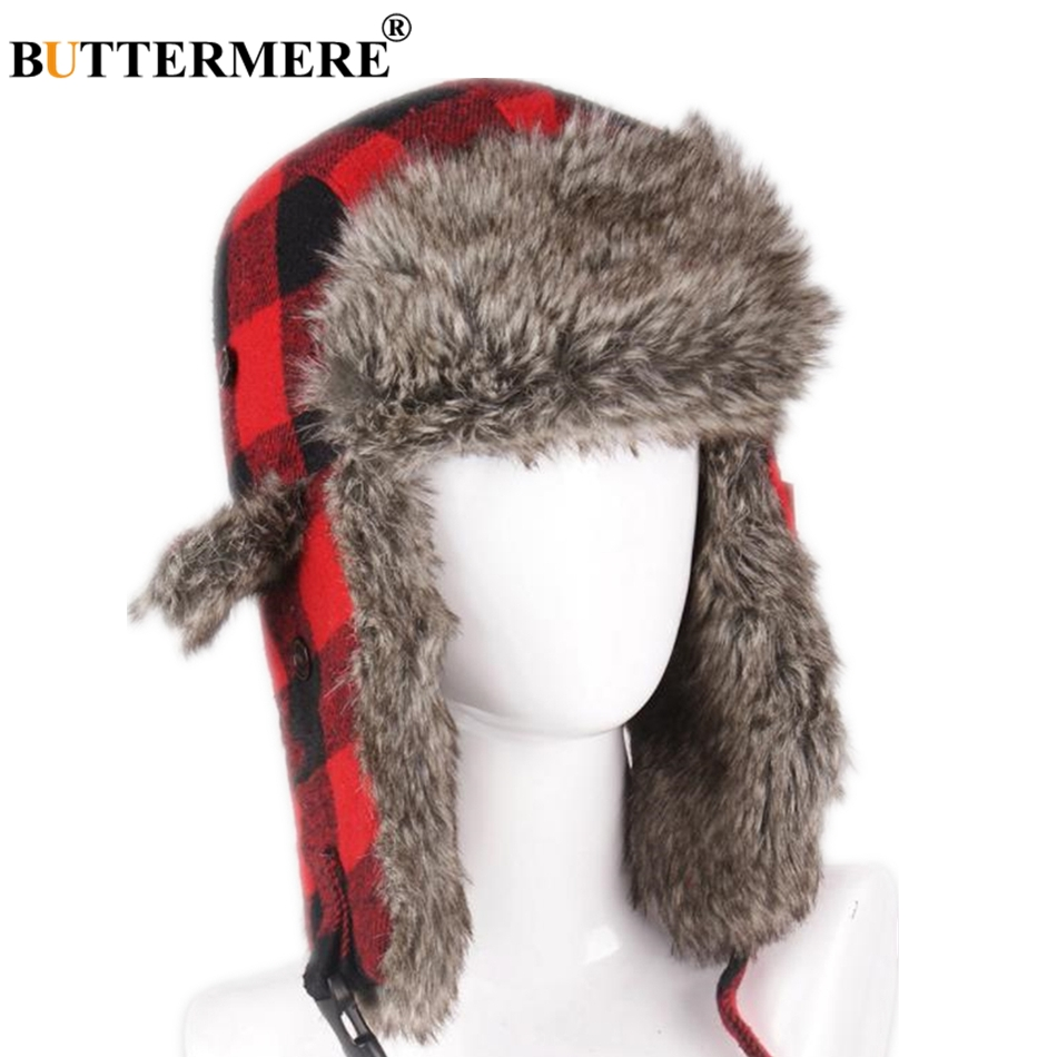 BUTTERMERE Russian Winter Hat Ushanka Women Men Outdoor Bomber Hats Plaid Fur Warm Thick Snow Red Pilot Earflap Trapper Hat