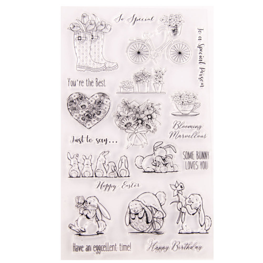 <font><b>12x20</b></font> Turtle and Rabbit Vase Transparent Clear Stamps for Scrapbooking for DIY Card Making Cutting Crafts Stencil image